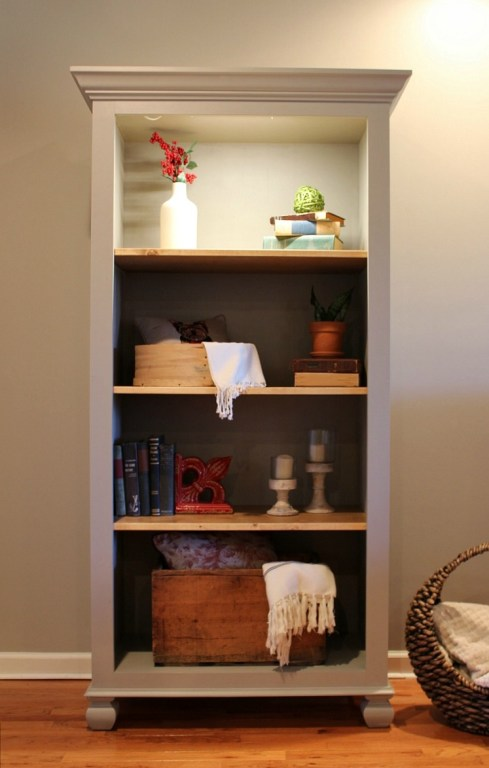 DIY Freestanding bookshelf with light on top to illuminate top shelf