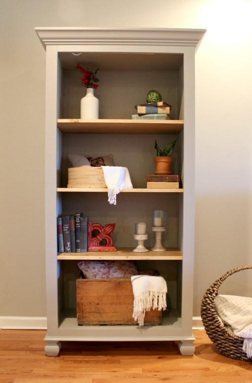 Tall freestanding bookshelf--grey and natural wood finishes