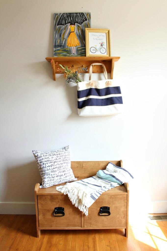 Pottery Barn Inspired DIY Entryway Storage Bench--#PlywoodPretty Challenge