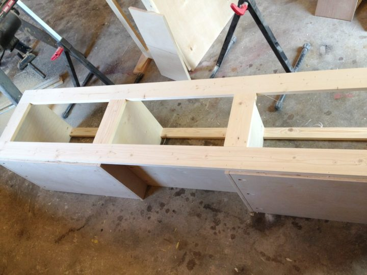 Face frame added to built in shoe bench carcass