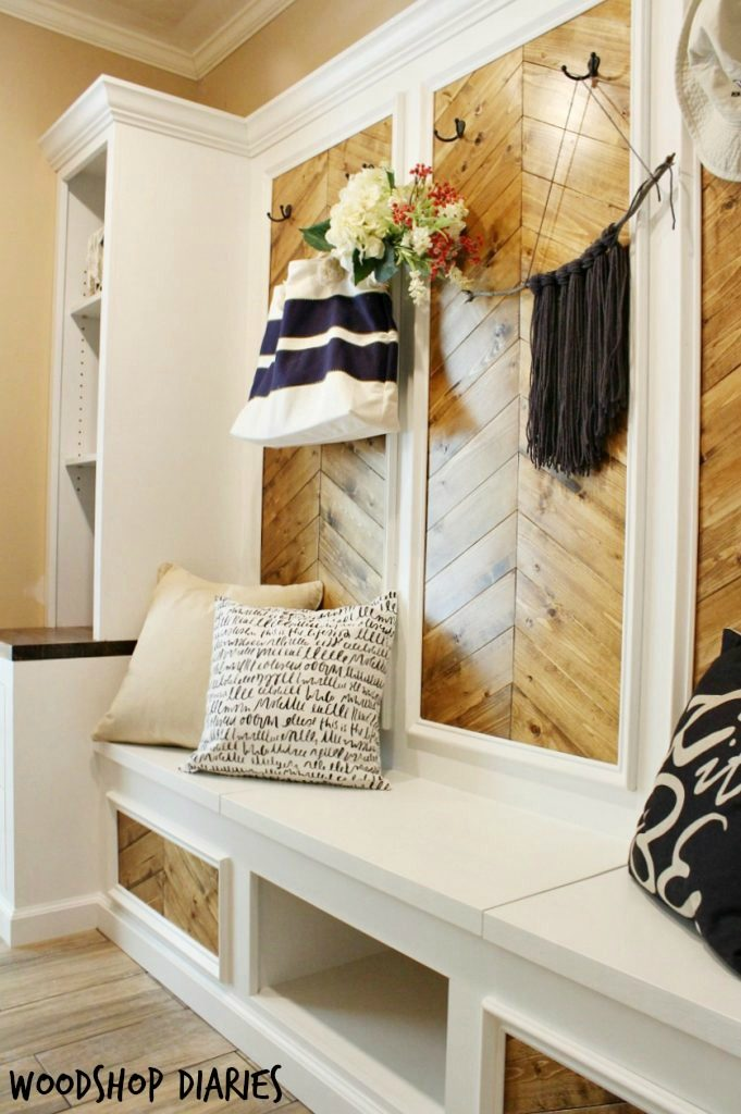 DIY Mudroom Built Ins Transformation--The After with show bench, wall hooks, and shelving