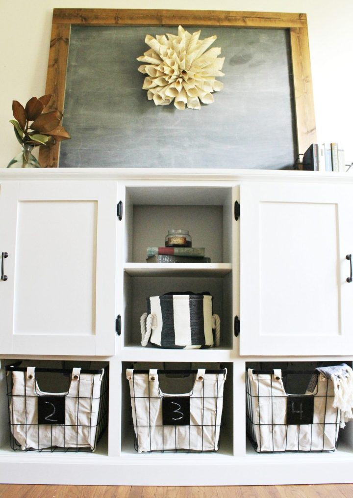 Storage console cabinet with open shelving in middle