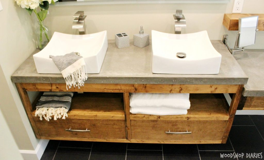 DIY Floating bathroom vanity with concrete countertops and vessel sink. Clean modern style bathroom
