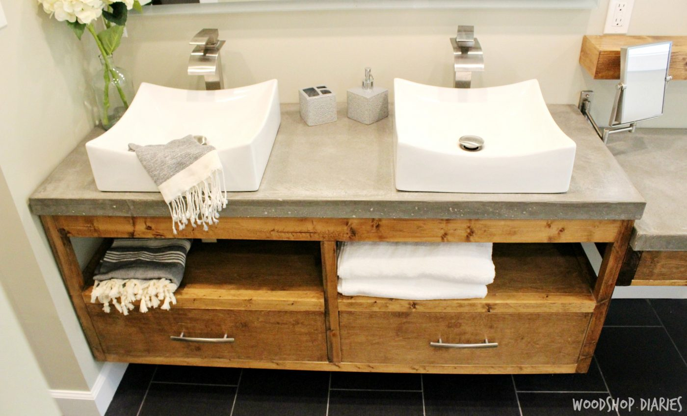 Attirant DIY Floating Bathroom Vanity With Concrete Countertops And Vessel Sink.  Clean Modern Style Bathroom