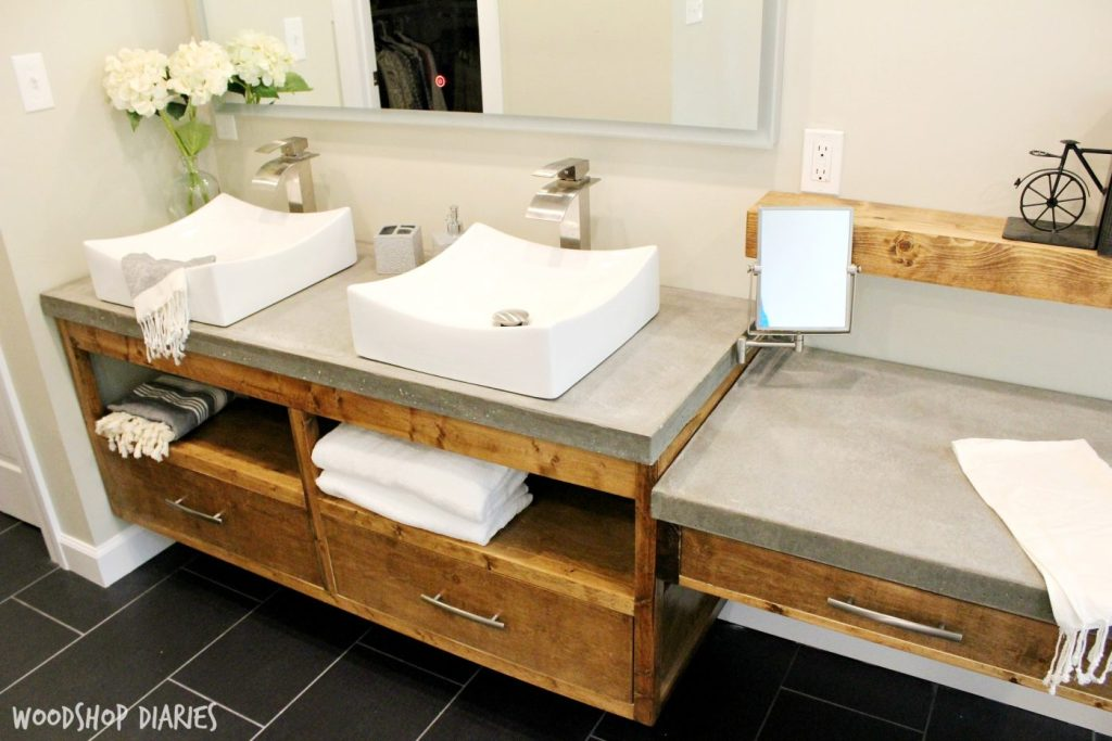 Free building plans for this Modern bathroom vanity. Gorgeous concrete countertops on floating bathroom vanity.