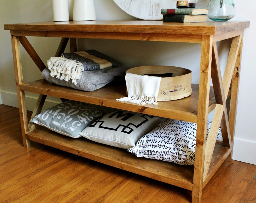 DIY X Base Console Table stained with Minwax Early American and finished with Minwax Polycrylic--Free building plans to make your own!