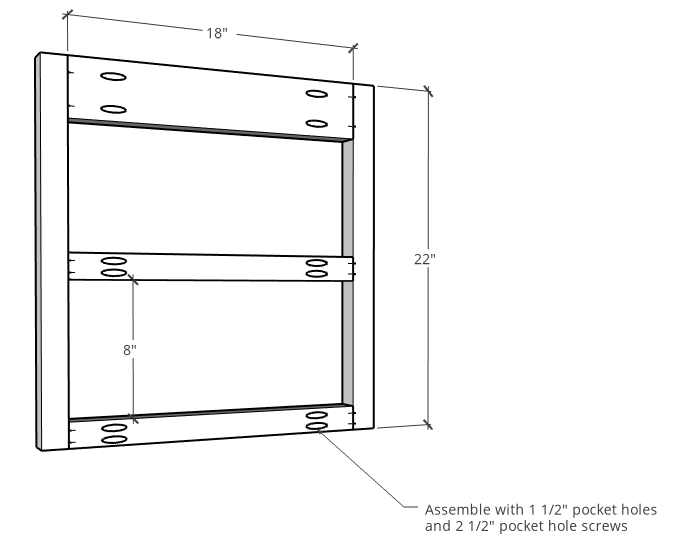 Diagram of side panels of vanity