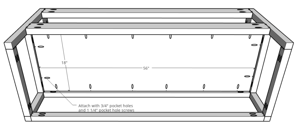 Floating console with plywood shelf assembly diagram