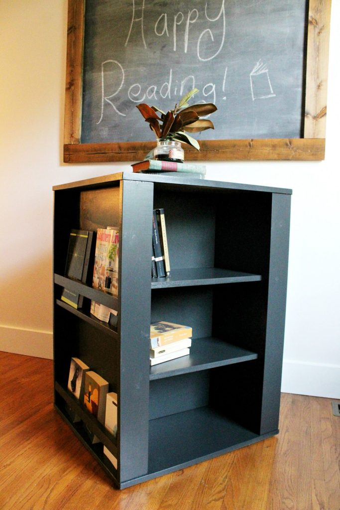 Build your own DIY Kid's four sided spinning bookshelf with these free plans! Perfect size for a kid's playroom to storage all those toys and books
