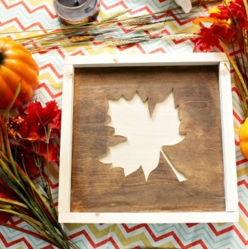 Super easy DIY fall leaf sign from wood scraps