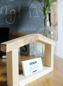 Scrap wood business card holder shaped like a house! Perfect for realtor, interior designer, contractor, etc. How cute are these?