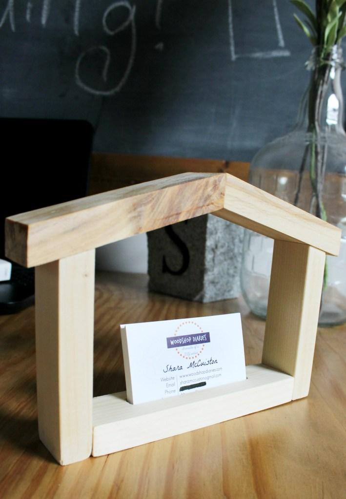 DIY House Shaped Business Card Holder from Scrap wood! Makes a great gift for real estate agent, interior decorator, designer, or even contractor!