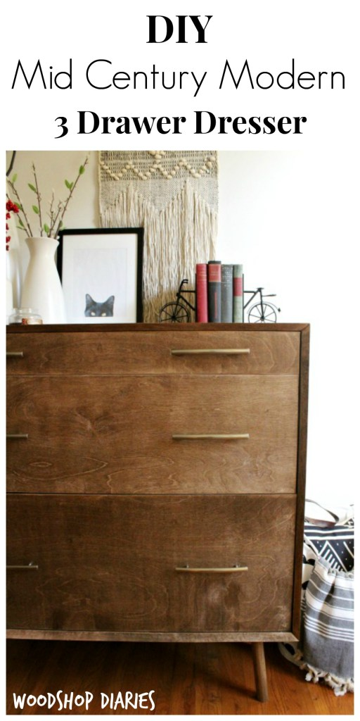 How to build your own DIY Mid Century Dresser with these free building plans! Don't wait to find vintage--just make your own! Stained in Minwax Special Walnut, this DIY piece looks like an authentic mid century dresser!
