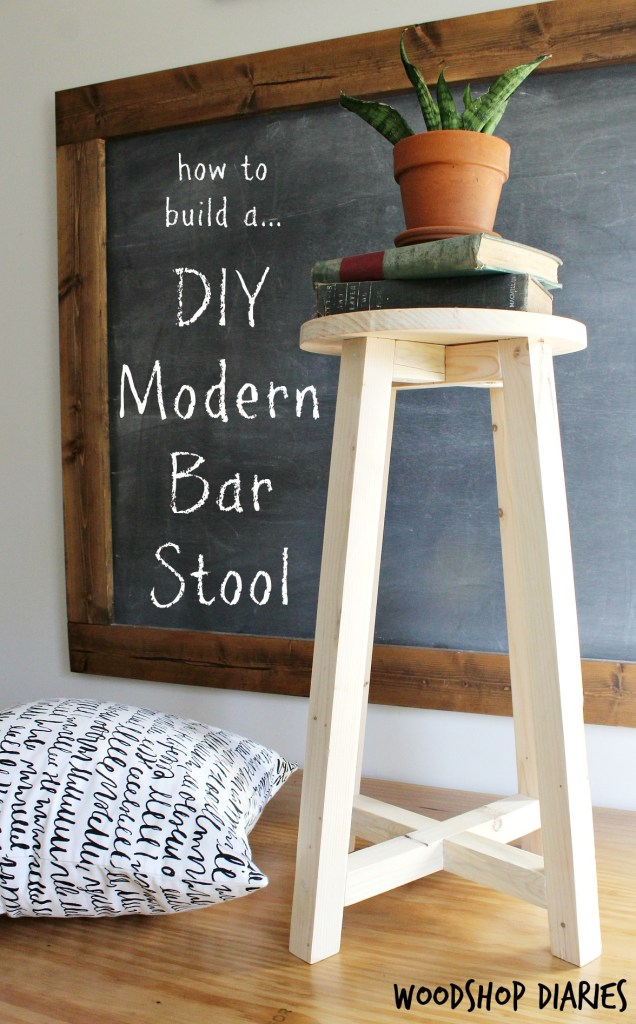 How to build a super simple modern DIY bar stool from some scraps and 2x2 boards! Free building plans and super easy tutorial. Great beginner woodworking project and could be used for bar stool, plant stand, desk stool, step stool, whatever you want!