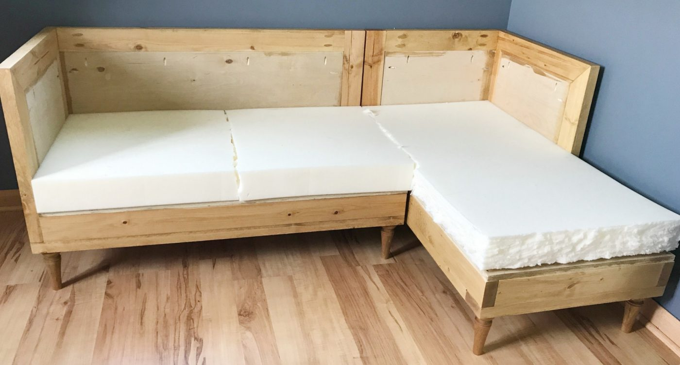 Once you have your couch frame built cut your 4\u2033 foam down to fit on the frame. You can use scissors or even a pocket knife and a straight edge. & Build Your Own DIY Upholstered Couch