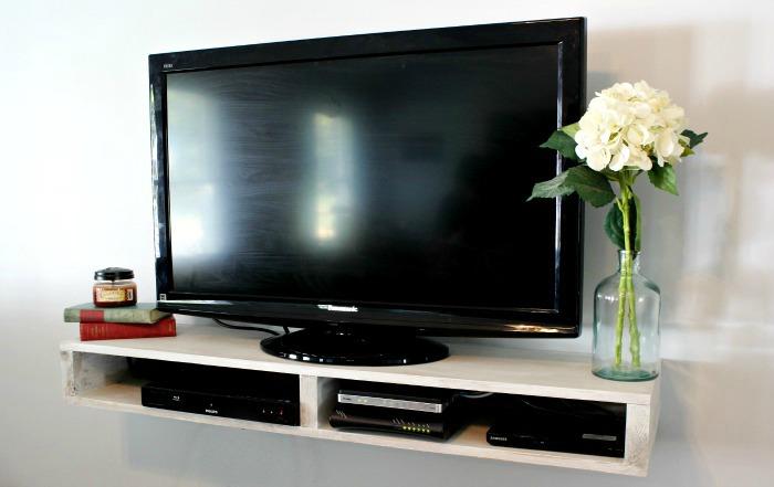 diy floating tv shelf. Black Bedroom Furniture Sets. Home Design Ideas