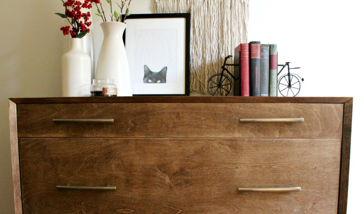 How to add detail to a DIY mid century modern dresser with mitered corners and round leg base