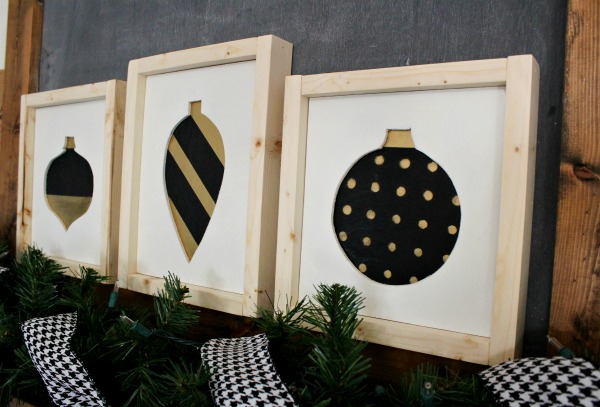 DIY Scrap Wood Christmas Signs with black and white and gold ornament shapes