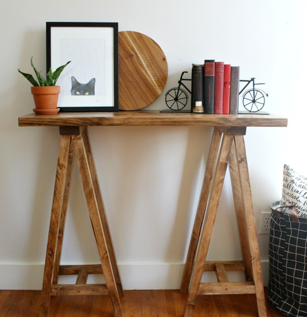 Fine Diy Sawhorse Console Table Ncnpc Chair Design For Home Ncnpcorg