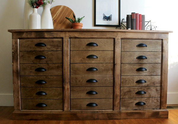 How to build a farmhouse dresser with faux drawers and cabinet storage space