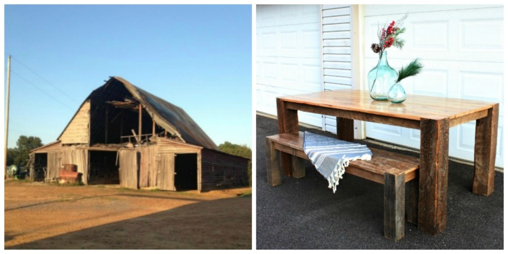 old tobacco barn to new gorgeous dining table
