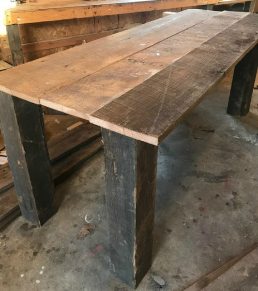 reclaimed barn wood table