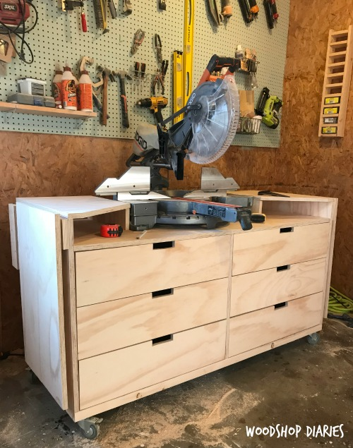 How to Build a Mobile Miter Saw Stand with Extension Wings and Plenty of Storage!