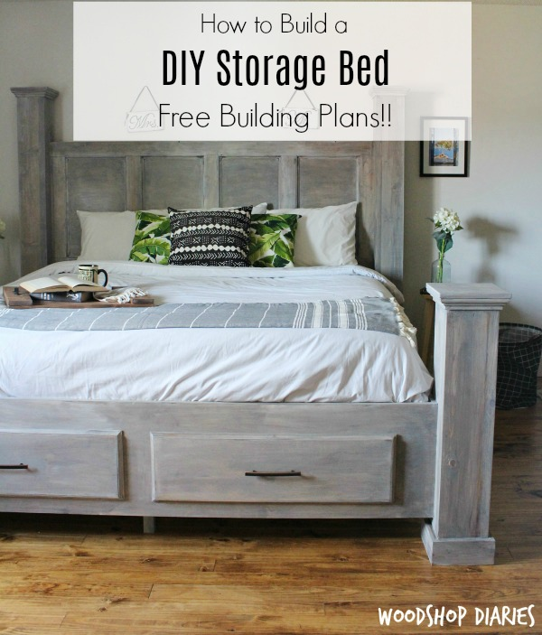 Superior How To Build A Farmhouse Style DIY Storage Bed  Free Woodworking Plans And  Video