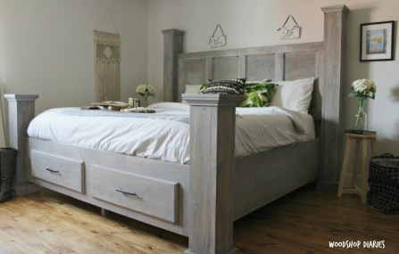 Free Building plans to build your own DIY King size storage bed