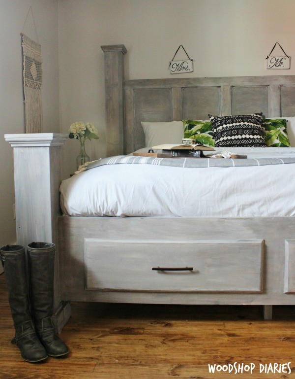 How to build a DIY Farmhouse King Size Storage Bed--free plans, tutorial, and video!
