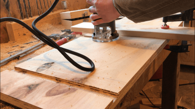 Using straight router bit to cut dado in bookshelf sides