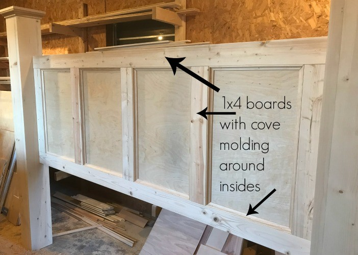 Headboard trim installed using 1x4s and cove molding