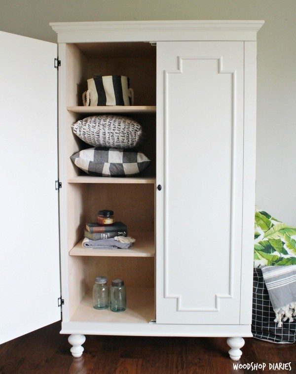 How to Build a DIY Wardrobe Storage Cabinet with adjustable shelves!
