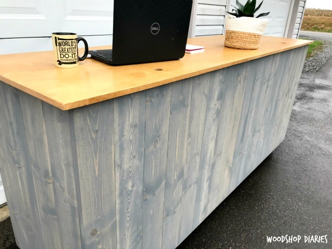how to build your own diy standing desk kiosk with hidden storage. Black Bedroom Furniture Sets. Home Design Ideas