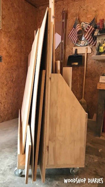 How to build a DIY rolling Scrap wood and Plywood shop Cart--one side for plywood sheet storage and one side to store wood scraps. Just roll out of the way when you don't need it!