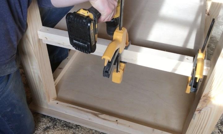Attach shelf to DIY children's play table