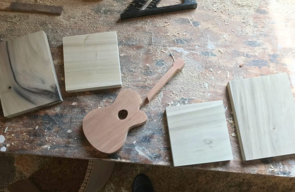 Scrap wood Guitar pieces cut to assemble bookends
