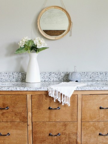 Gorgeous faux drawer bathroom vanity with granite top