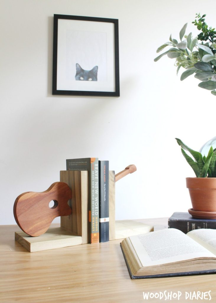 Quick and easy scrap wood project--DIY Bookends with Guitars!