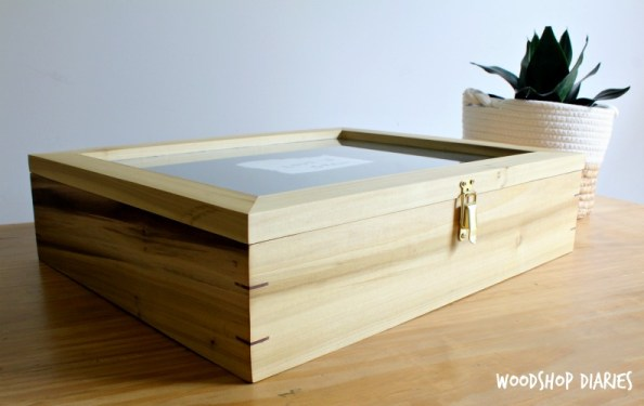 Picture Frame keepsake box made from poplar sitting on table