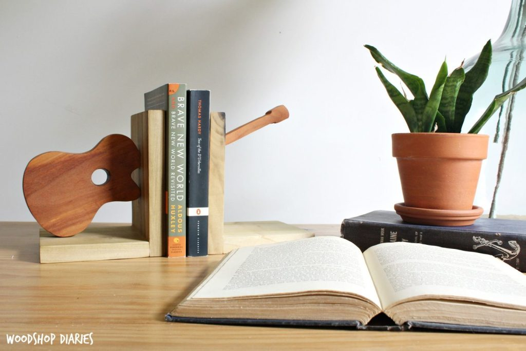 How to build scrap wood bookends--DIY Guitar Shaped Bookends