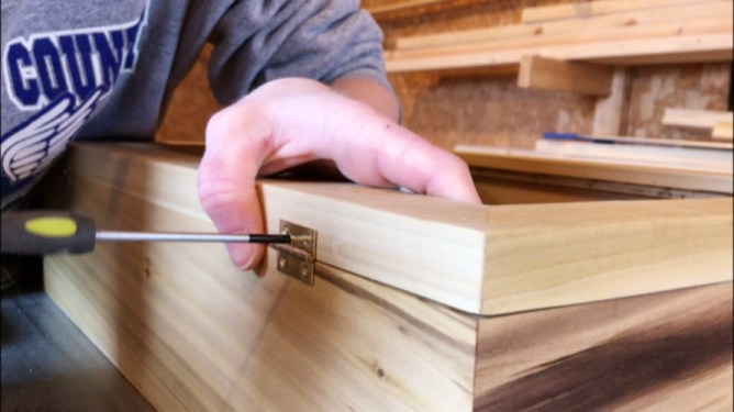 attaching hinges onto box lid
