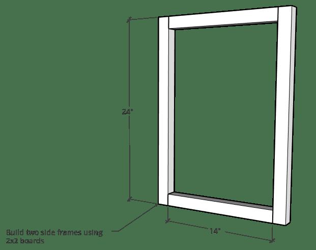 Modern nightstand side frame assembly diagram