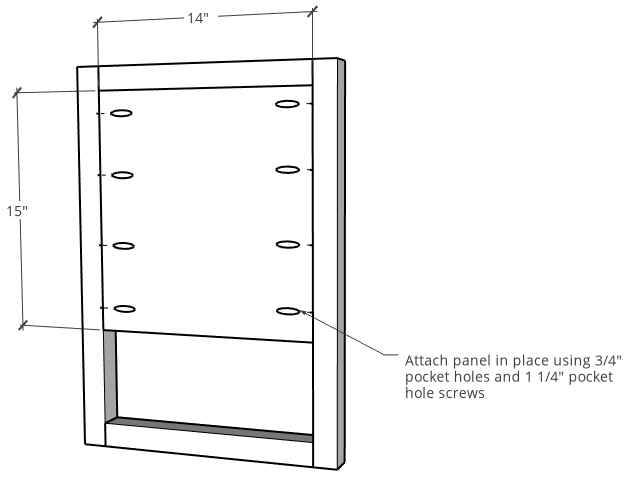 Side panel and frame assembly diagram for modern nightstand