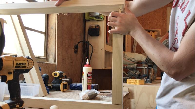 Glue together modern nightstand frame using dowels