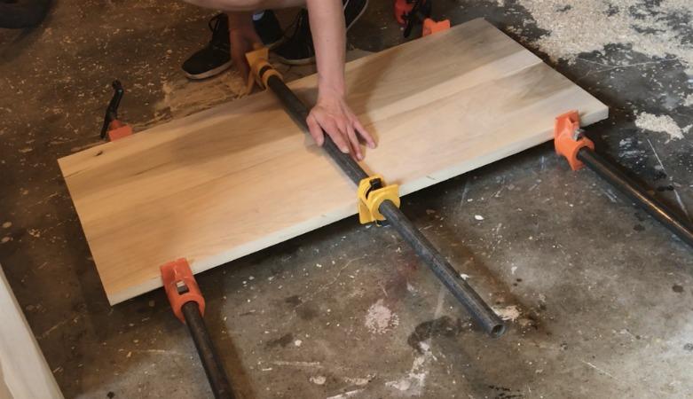 Glue up nightstand top boards