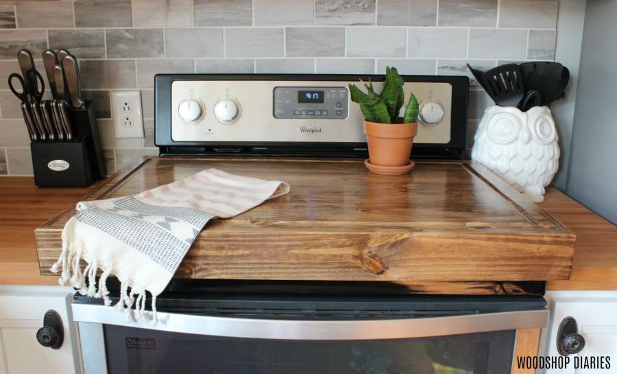 DIY wooden stove top cover kitchen hack idea