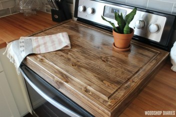 DIY Wooden Stove Top Cover with juice groove