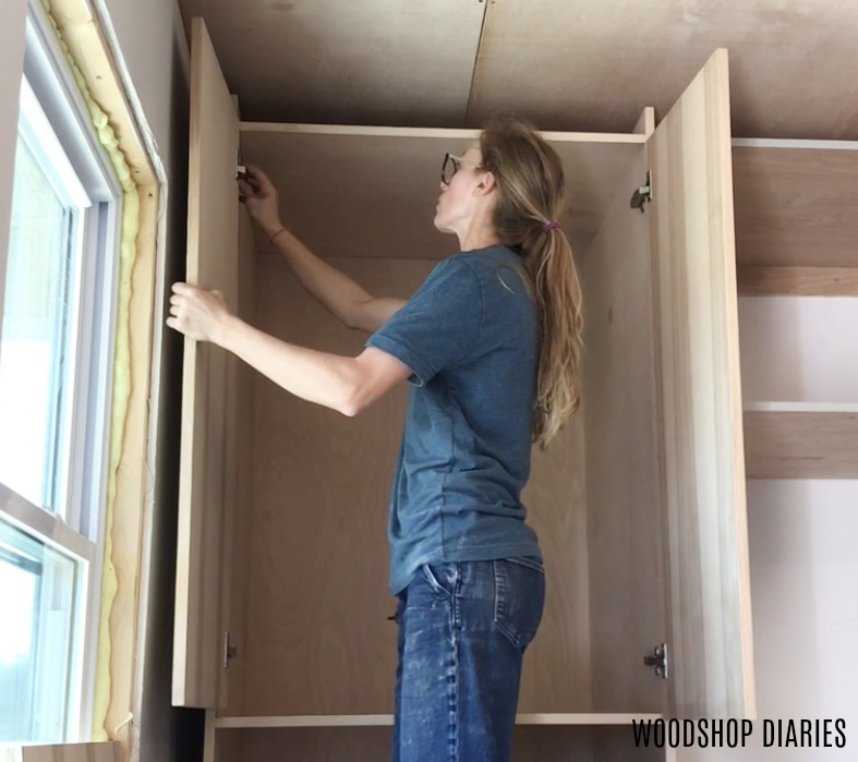 Shara hanging hickory plywood cabinet doors with edges covered using hickory edge banding