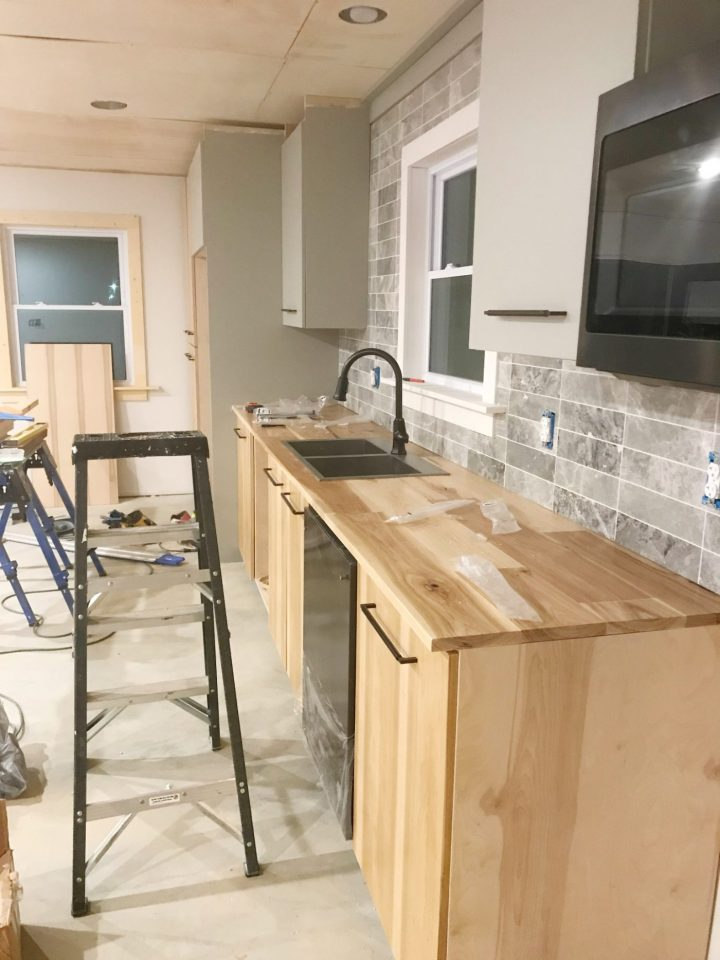 countertop installed on top of DIY kitchen cabinets